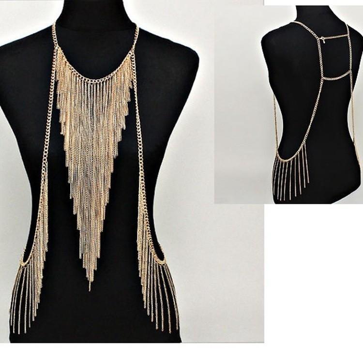 2015 New Sexy Punk Multilayer Gold Tone Long Tassel Body Chain Necklace Fashion Bikini Harness Beach Jewelry for Women Free(China (Mainland))