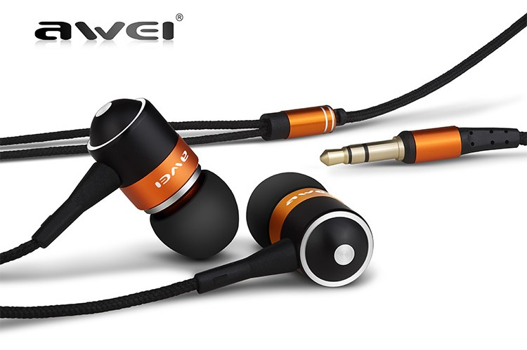 Original Awei ES Q3 New High Quality 3.5mm Jack Noise Isolation In-ear Earphone for MP3/MP4 For Samsung For Phone