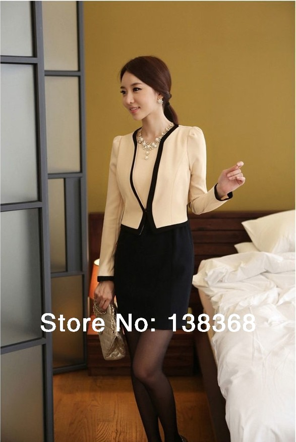 Coat+Dress Fashion NEW Slim Ladies Womens Suit Coat Blazer Jacket Button White Black Colors Extra Size - Lywen Foreign Trading CO., Ltd store
