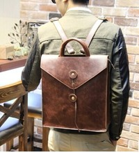 2015 New Casual Genuine Leather Bag Men Backpack Retro Vintage Male Students School Bags Outdoor Man