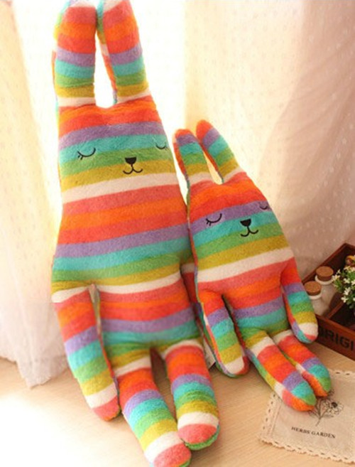 55cm and 95cm Big Soft Toy Colorful Striped Rabbit Doll Japan Craftholic Toy Collection Home Bed Cushion Pillow Car Decor Parts(China (Mainland))