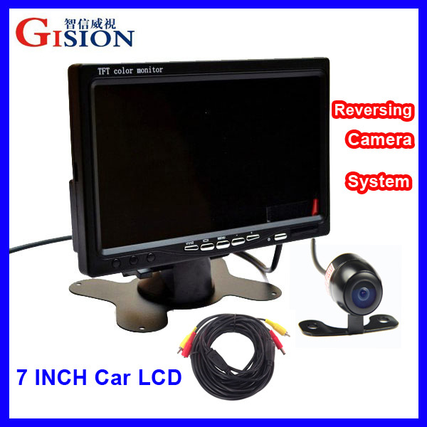 "Free shipping 7"" LCD Monitor Car Rear View Kit ,1CH/2CH Auto Parking System for Truck,Bus,School Bus.DC 12V Input.(China (Mainland))"