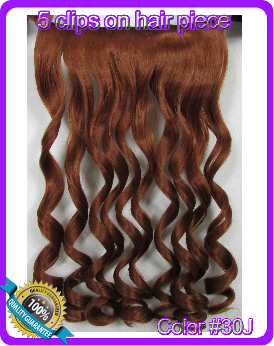 24 (60cm) 120g deep wave clip in hair extensions hairpiece hair pieces color #30J copper red<br><br>Aliexpress