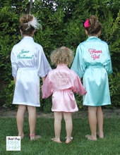Kids Flower Girl Wedding Stain robes NightGown  Monogrammed Silk children's bathrobe Junior Bridesmaid party Brides robes Kimono(China (Mainland))