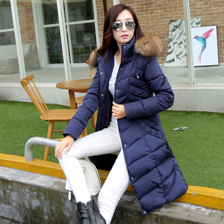 European Fashion Oversized X-Long Women Jackets Parkas Coats Big Fur Collar Winter Warm Casual - She-Clothes Mall store