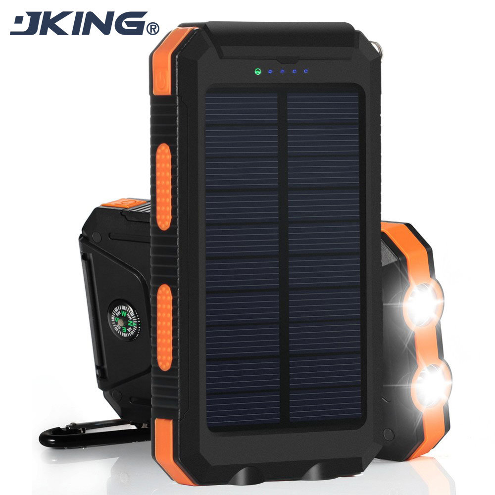 10000Mah Waterproof Solar Charger With Compass 2 LED Llight 2 Ports Power Bank Portable powerbank Charger For IPhone 6 s Samsung(China (Mainland))