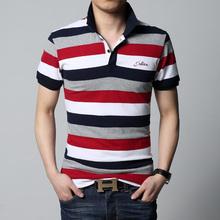 Polo 2015 summer new men's striped polo shirt brand of high quality 100% cotton men's short-sleeved polo shirt M/3XL