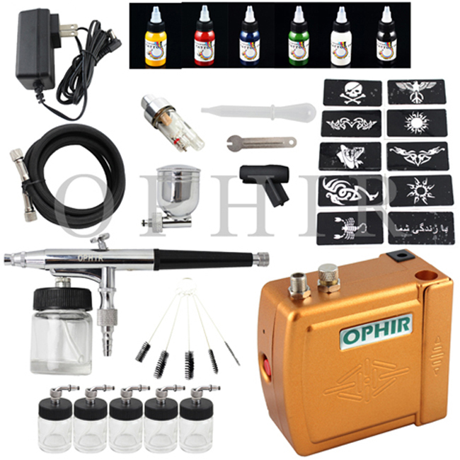 OPHIR Golden Airbrush Temporary Tattoo Compressor Kit+6 Color Body Paint Ink & 100 Stencil & 5 Spare Bottles & Filter_OP-BP001(China (Mainland))