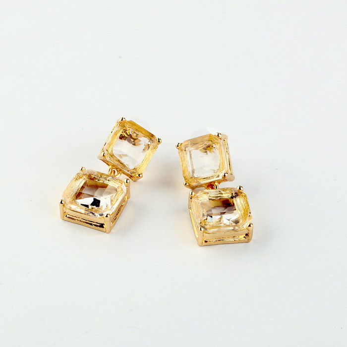 Wholesale Zinc Alloy Rhinestone Zircon Crystal Gems Clear Crysral Fashion Jewelry Square Pierced Stud Earrings Sale(China (Mainland))