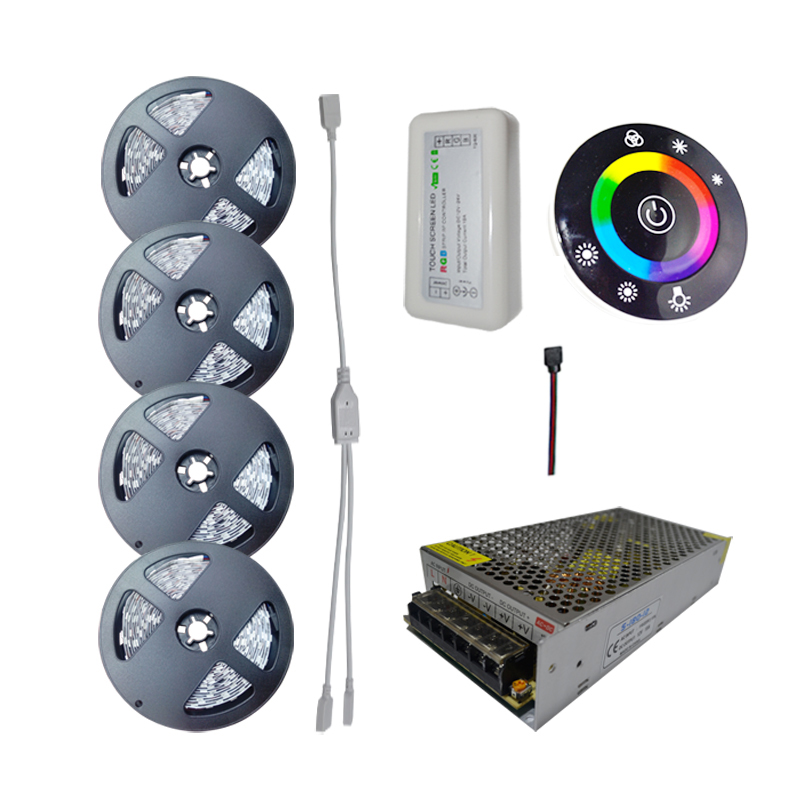 10M 15M 20M RGB Led Strips 5050 SMD DC12V Dimmable Controller fully RF Touch Remote For home lamps + AC 220V LED driver(China (Mainland))