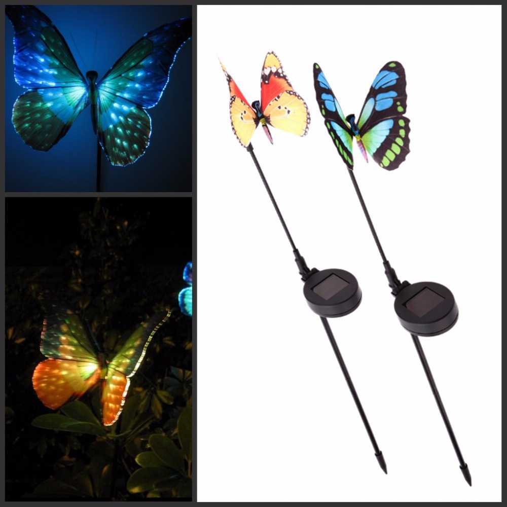 2016 New Garden Ornaments Solar Powered Lawn Lamp Butterfly with Light Sensor RGB Changing Light Rechargeable Garden Decoration(China (Mainland))