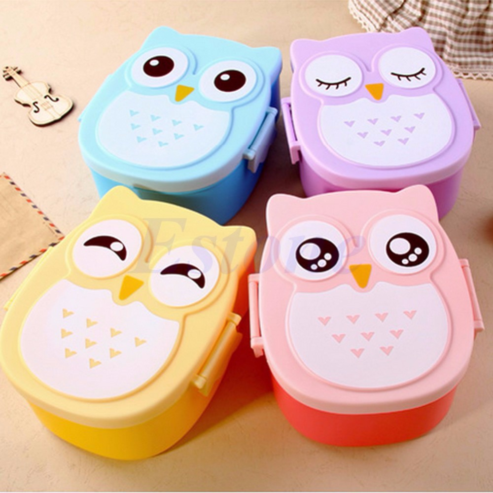 Food Contain Bento Box Owl Plastic Cute Cartoon Lunch Box Oven Heating For Kids(China (Mainland))