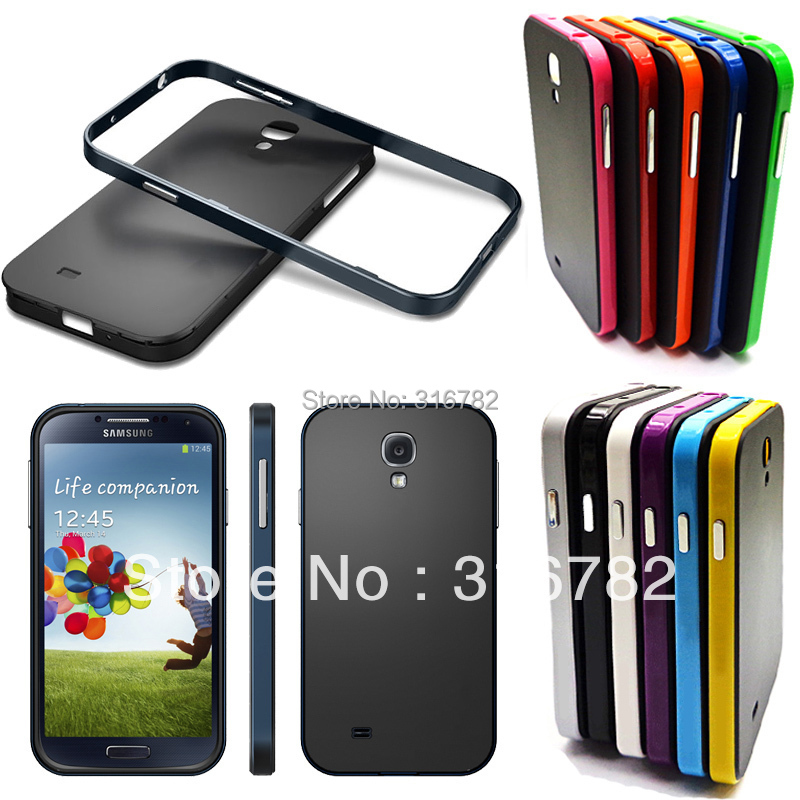 Hard Rubber Hybrid Bumper Case Cover For Samsung Galaxy S4 i9500 MOQ: 1 Free Shipping(China (Mainland))