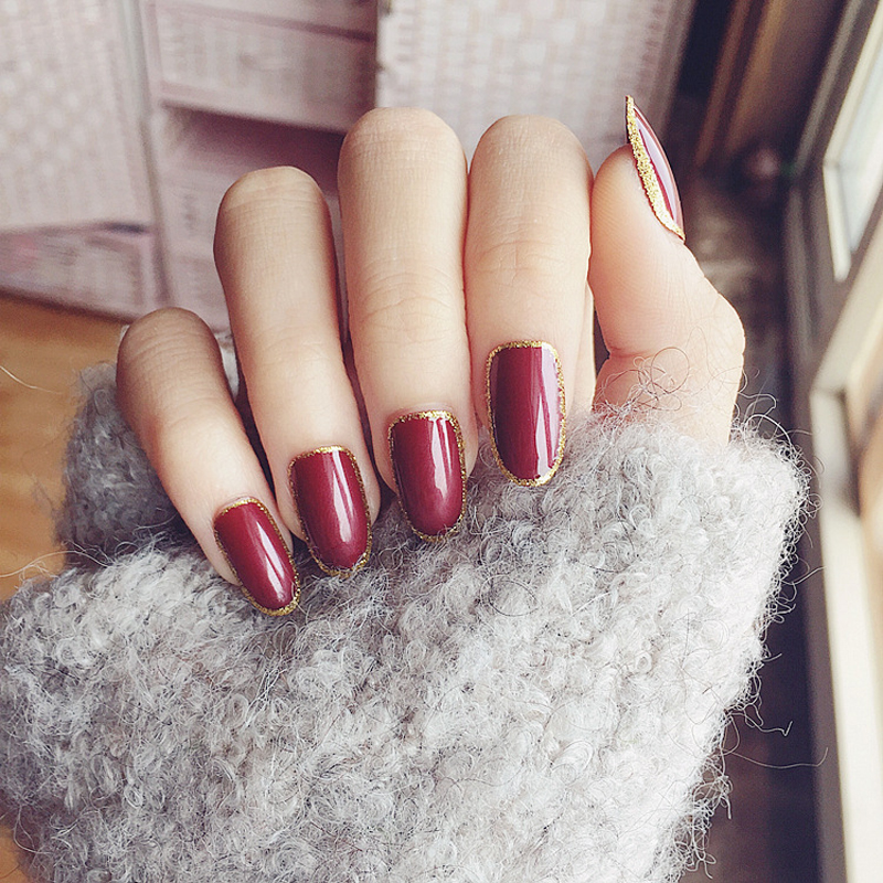24PCS/set False Nails Vampire Wine Red Fake Nails Oval Short Gold Glitter Design Faux Ongles 24 Style Optional Full Nail tips(China (Mainland))