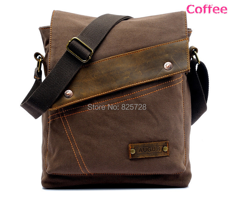 Coffee Color Men Boy Canvas Leather Shoulder Bag School Travel Casual Small Messenger Bags Satchel CA9088 - Amei's store