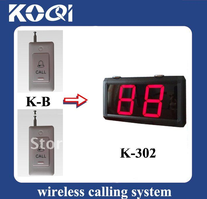 Factory price 1 set Wireless call bell system 1pcs LCD Display+5 pcs table calling button(China (Mainland))