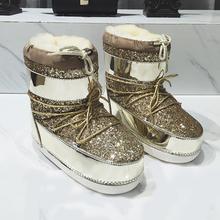 Bling Lentejuelas Encaje Hasta la Luna Botas de Invierno de Las Mujeres Botines Planos Bottes Femmes 2016 Zapatos de Mujer de Invierno Botas Mujer Botas de Nieve Caliente(China (Mainland))