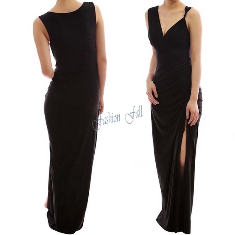 2015 New Design Clothing Women Newest Novelty European Brands Black Sleeveless Side Split Maxi Dresses Long Summer Dress MR18423(China (Mainland))