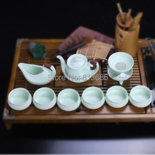 white and grteen ceramic tea set traditional chinese teapot set with tea strainer specialized