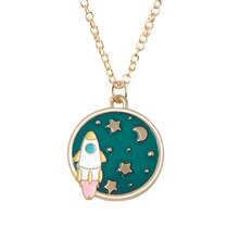 Moda astronauta planeta foguete pingente colar crianças miúdo colar de metal longa corrente dos desenhos animados jóias para entusiasta cósmico(China)