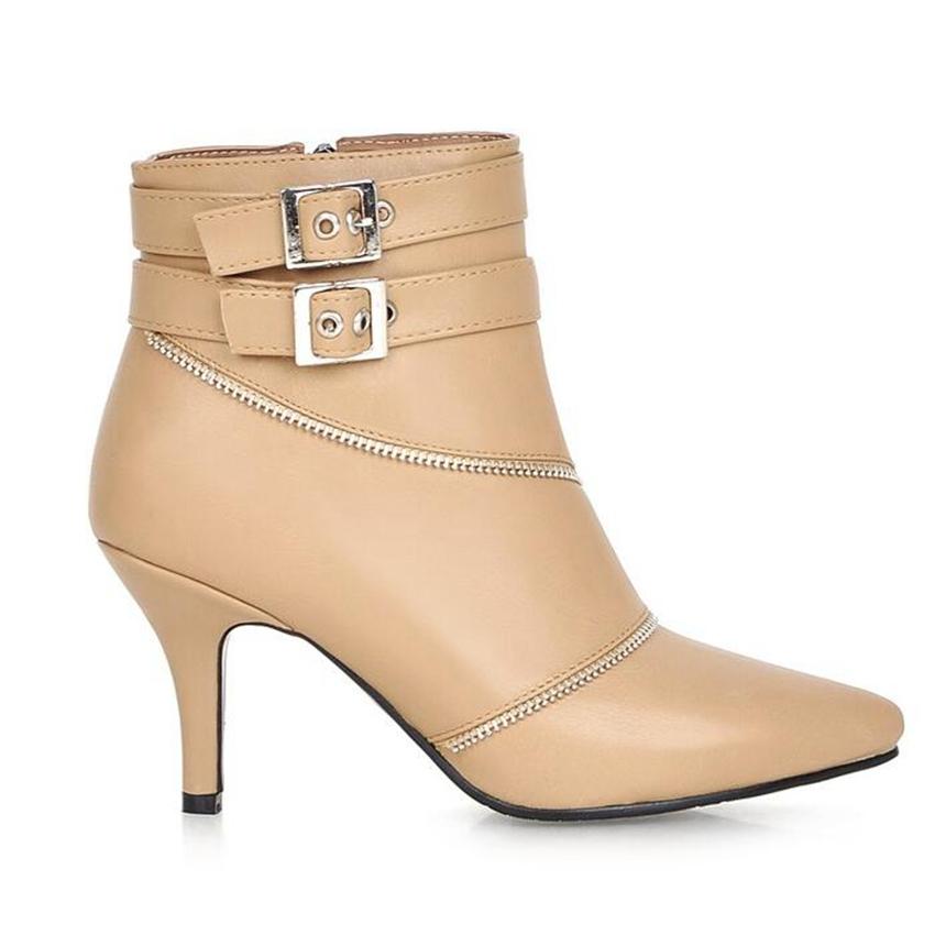 2016 novo chegada mais tamanho grande 32 – 43 preto de fivela Zip Sexy primavera tornozelo mulheres botas de salto alto outono X1355
