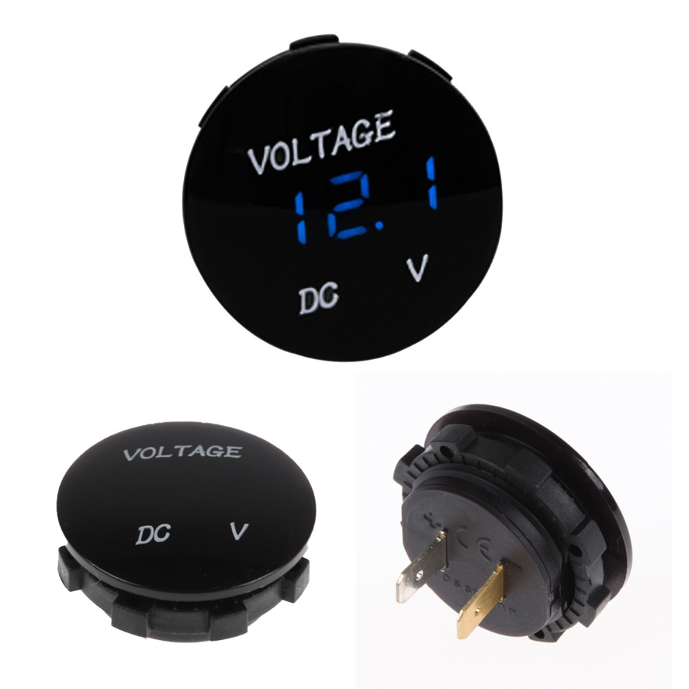 Free shipping Car Digital Voltmeter Blue LED Digital Display 12V 24V Volt Meters Car Auto Voltage Monitor(China (Mainland))