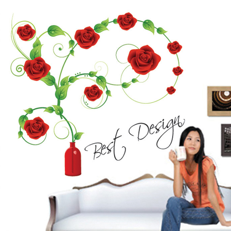 1pcs Rose Flower Wall Stickers Living Room Wedding Bedroom Decor Home Accessories Vinyl PVC Decals Mural Poster vinilos paredes(China (Mainland))
