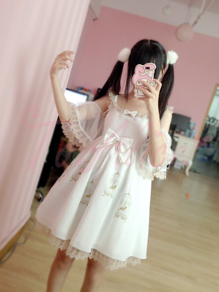 white sweet lolita dress birdcage bowknot lace lovely cute jsk girl cloth cosplay 0139 - Beautiful Item Shop store