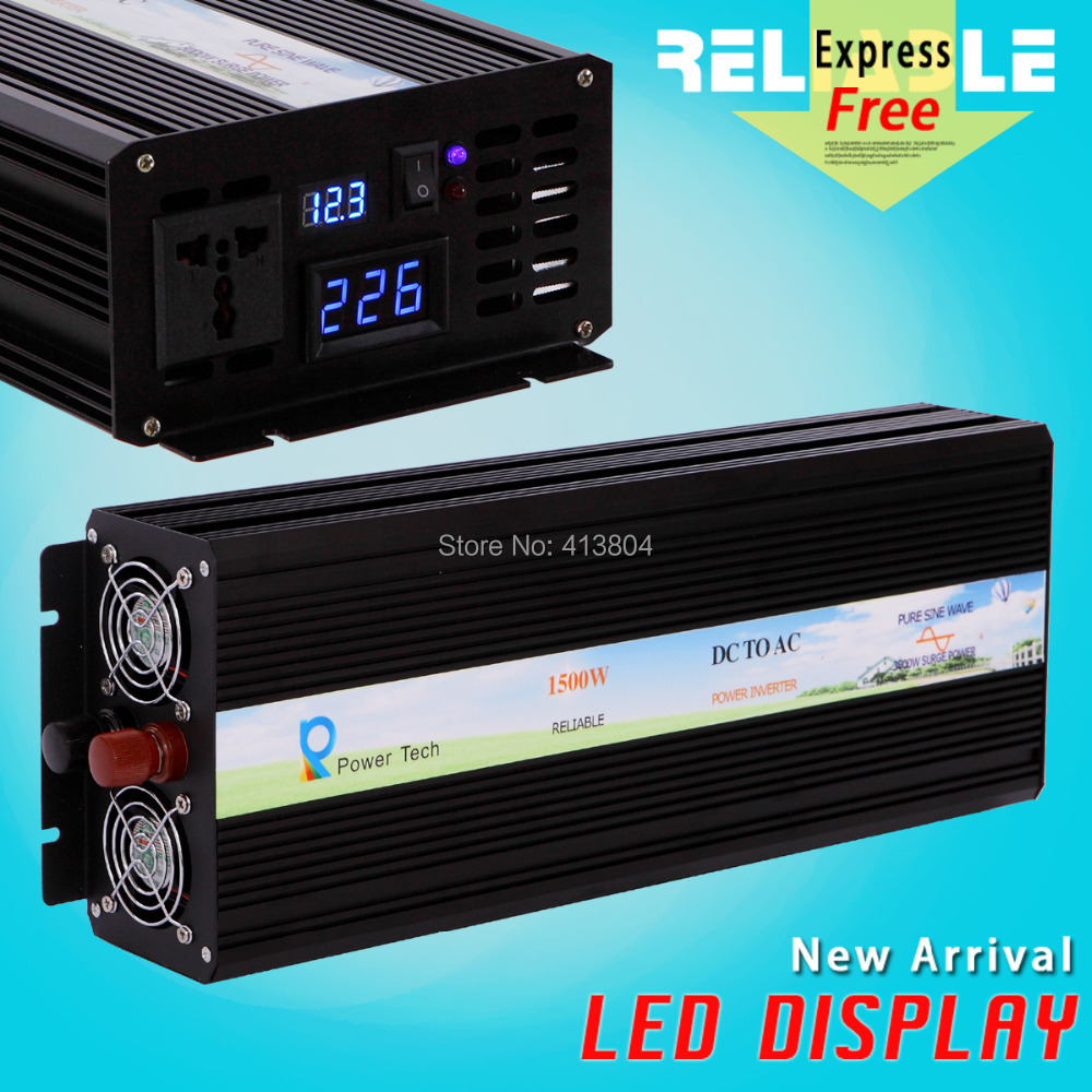 LED Display 1500Watt 12V/24V/48VDC to 100/110/120/220/230/240VAC off grid dc to ac inverter Pure Sine Wave solar Power Inverter(China (Mainland))