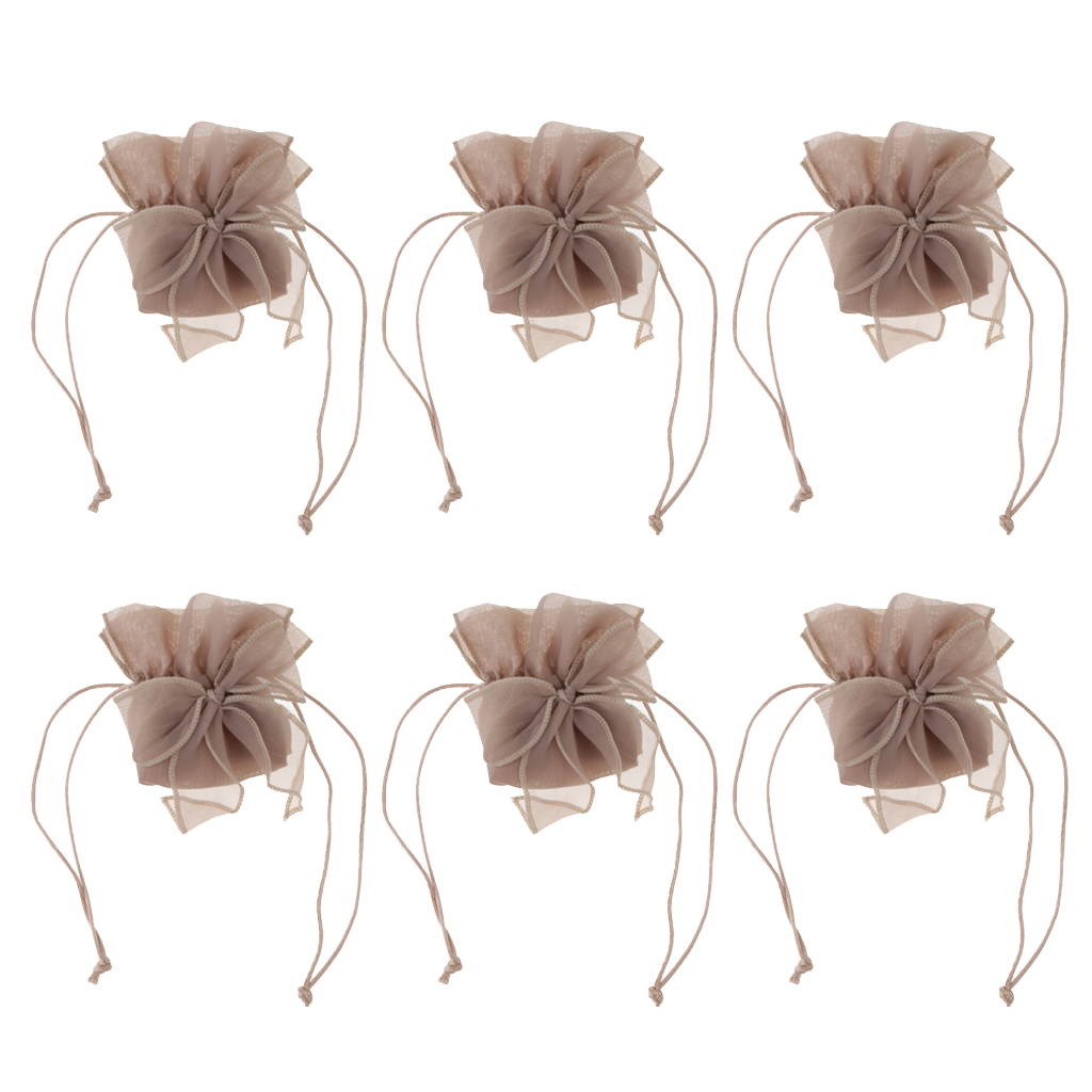 6pcs Organza Bowknot Drawstring Jewelry Pouch Candy Bag Gift Bag