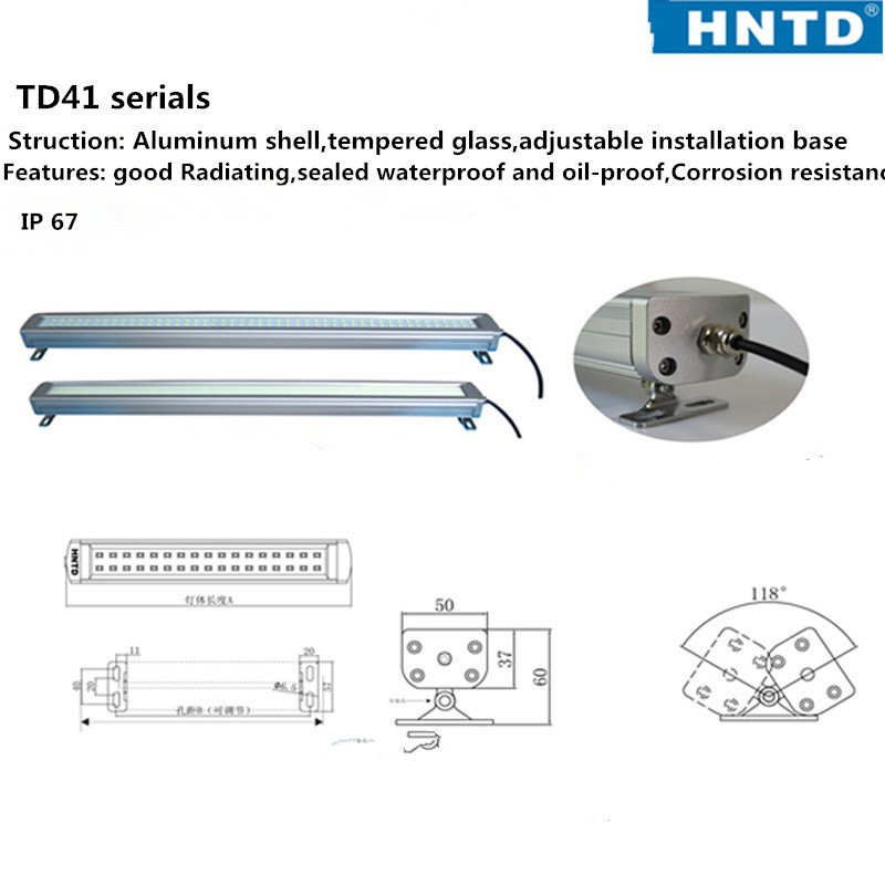 Free ship new 340mm HNTD41-8W 24V LED metal Waterproof explosion-proof lamp led work light for CNC machine industiral lamp