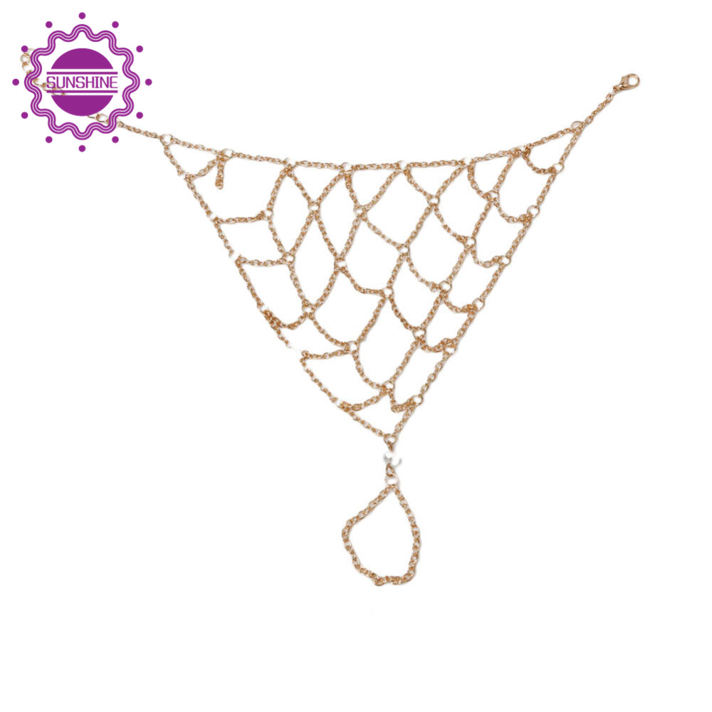 Fashion Beach Anklets Barefoot Sandals Slave Mesh Net Gold Plated Anklet Multi-layer Chain Toe Foot Grid Chian Jewelry Bracelet(China (Mainland))