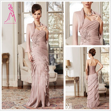 J&Y Latest Sweetheart Pleat Mother Of Bridesmaid Dresses With Jacket Full Sleeve Dresses For Wedding Formal Mother Custom(China (Mainland))