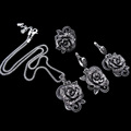 HENSEN Antique Silver Plated Jewellery New Fashion Vintage Black Crystal Flower Pendant Necklace Set Women Jewelry