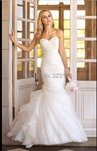 Stock New Fashion Real Photo Bridal Gown Custom Made Organza Simple Elegant Mermaid Wedding Dress 2014 - Grace Store store