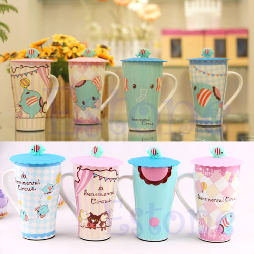 1PC Cute Leakproof Silicone Coffee Mug Suction Lid Cap Airtight Sealed Cup Cover(China (Mainland))