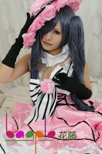 Black Butler Ciel Phantomhive girl women blue grey 2 clip ponytails curly cosplay wig 80cm(China (Mainland))