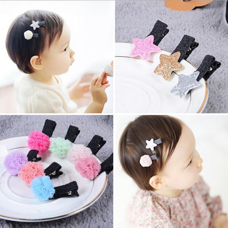 2pcs/set Baby Girls Hair Accessories Sequin stars Shiny Fabrics flower Hair Clip Kids Children Hairpin(China (Mainland))
