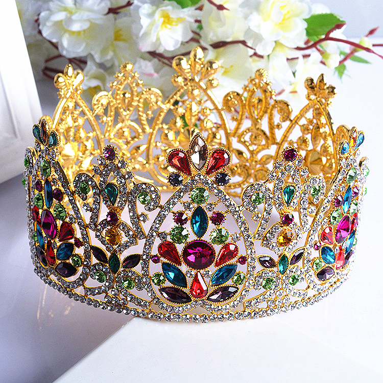 bridal hair jewelry European and American high-end luxury alloy crown round full circle tiara colored wedding hair accessories<br><br>Aliexpress