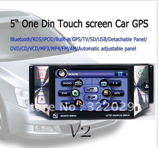 "5"" One Din Touch Screen Car GPS VD51G Car DVD Player with GPS/TV/Bluetooth/iPOD and Detachable Panel Free shipping"
