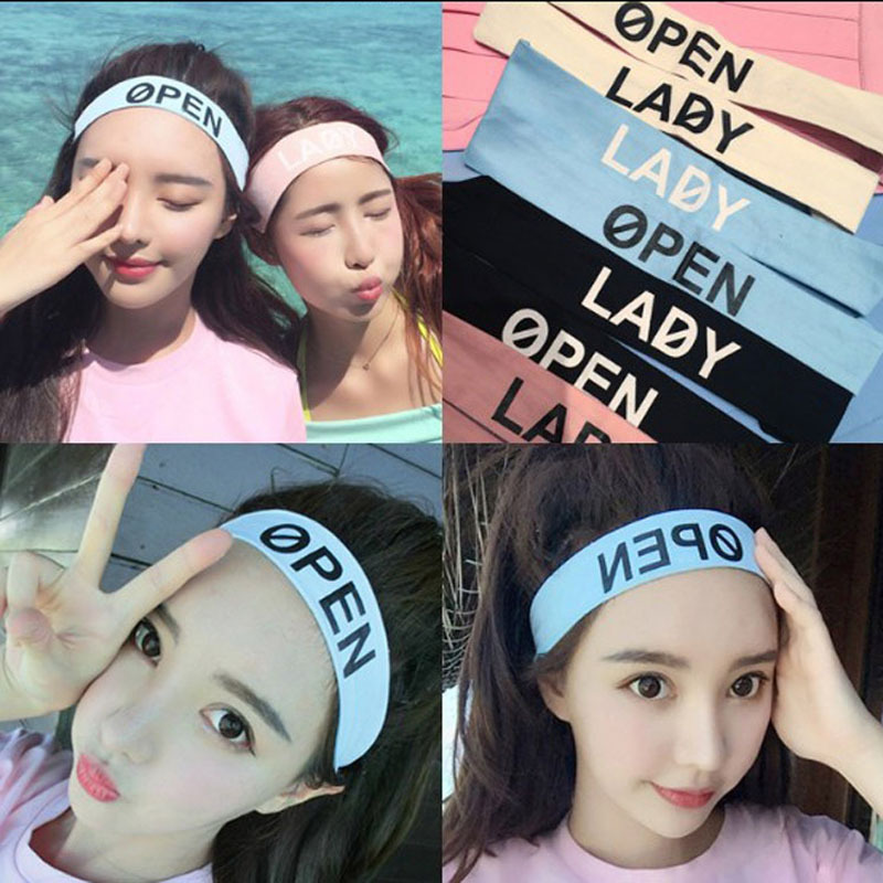2015 Summer Womens OPEN LADY Letters Design Cotton Sports Headband Fitness Hair Bands Head band Hair Accessories Patch For Women(China (Mainland))
