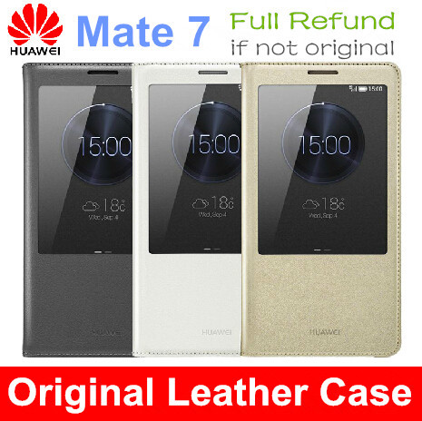 Original Huawei Ascend Mate 7 Phone Flip Leather Cover Case Smart View Funda Para + Tempered Glass Screen Protector For Mate7(China (Mainland))