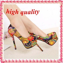 free shipping sexy red bottom high heels fashion ladies women shoes woman platform pumps 2014 girls flowers print party Z428(China (Mainland))