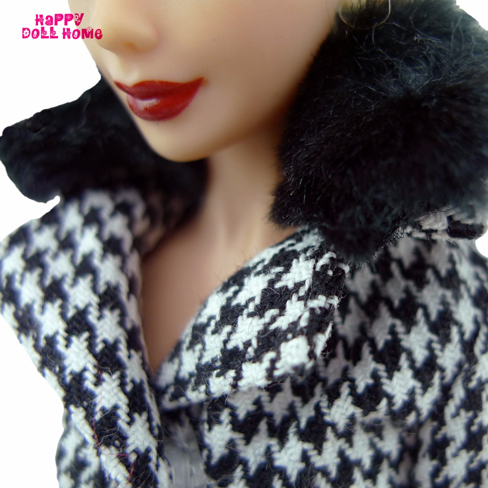 Houndstooth Outfit Jacket Trousers Belt With Black Purse and Sneakers Fashionable Garments For Barbie Doll 11.5″ 12″ Puppet Toys Reward
