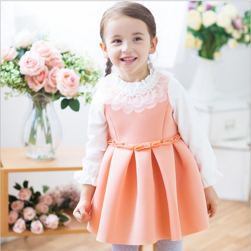 2015 new College style autumn summer girls long sleeve dresses children cute party kids cotton clothes 5pc lot - Seven Dwarfs store