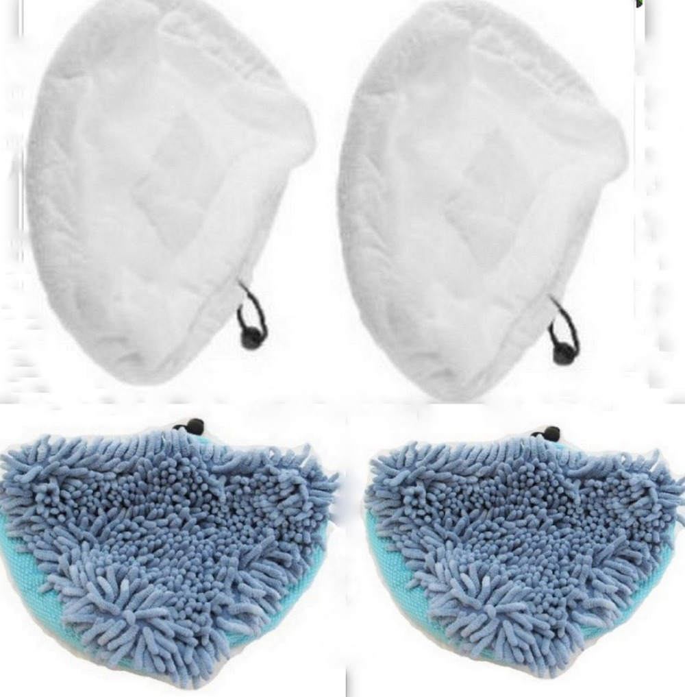 Free Post 4 x Vax S87-T2 Steam Mop Coral Microfibre Pads & White Cleaning Pads 2 of Each(China (Mainland))