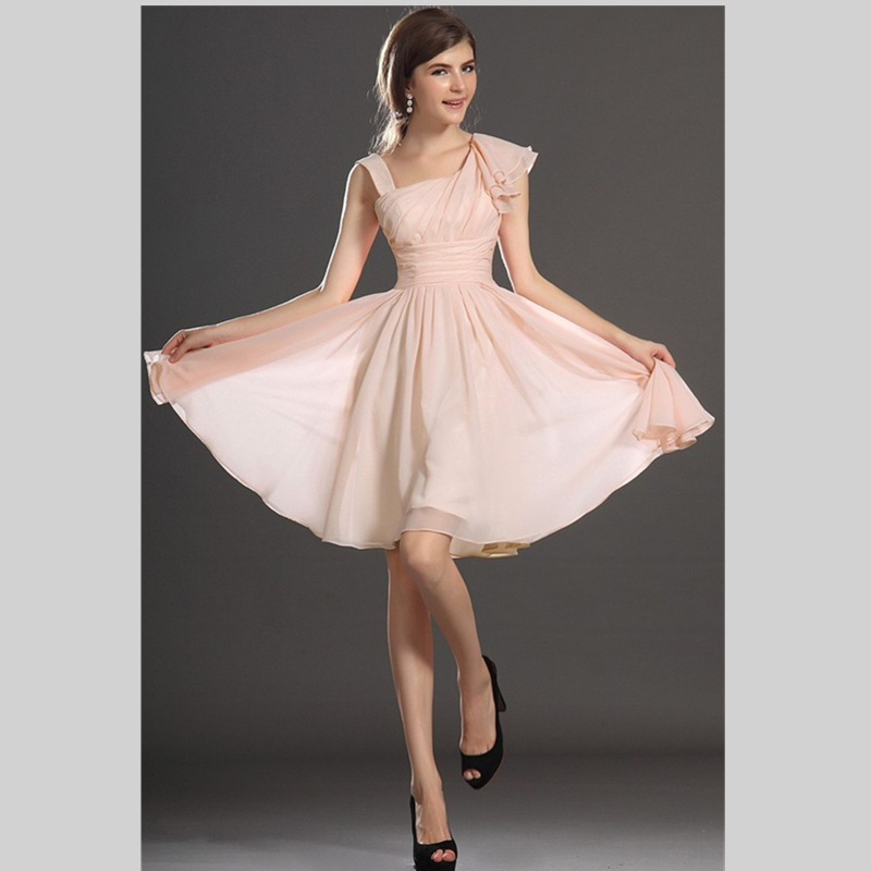 2015 hot sale pink chiffon short bridesmaid dresses