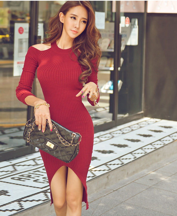 2016 Female Sexy Sweater Dress Cut Out Shoulder Long Sleeve Knit Bodycon Pencil Casual Mid Autumn Winter Dress Vestidos(China (Mainland))