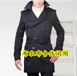 Black medium-long fashion korean men trench coat casual double breasted slim belt trench outerwear turn-down collar men british