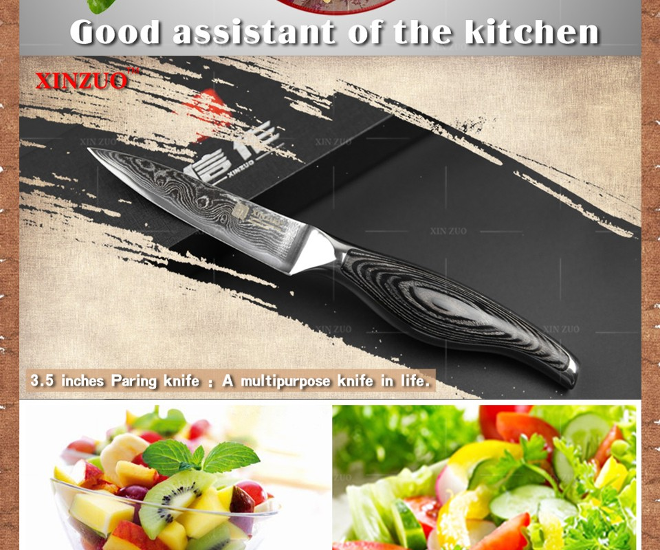 "Buy XINZUO 3.5"" paring knife kitchen knife VG10 Damascus steel kitchen knives parer fruit knife with wood steel handle FREE SHIPPING cheap"